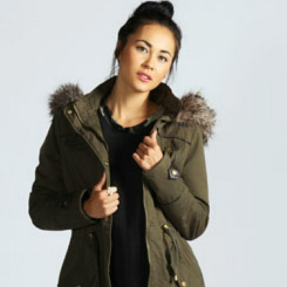 af59962b5ce Boohoo Jackets   Blazers - Boohoo Modo Alia Faux Fur Leather Trim Olive  Parka